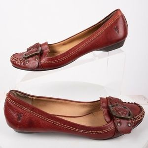 Frye Womens Ruby Woven Moccasins Shoes Sz 8 M Red